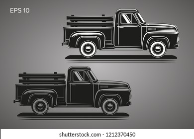 Old retro pickup truck vector illustration. Vintage transport vehicle. Farming workhorse