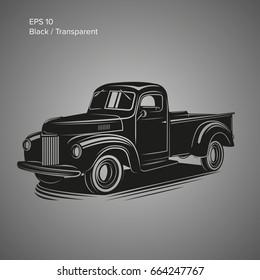 Old retro pickup truck vector illustration. Vintage transport vehicle