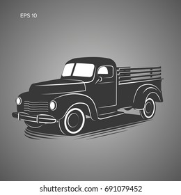 Old retro pickup truck vector illustration icon. Vintage transport vehicle