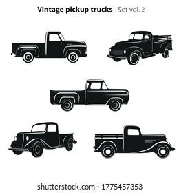 Old retro pickup trucks vector illustration set. Vintage transport vehicles. Simple vector icons or logo