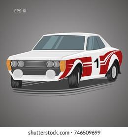 Old retro rally car vector illustration. Japanese vintage motorsport legend