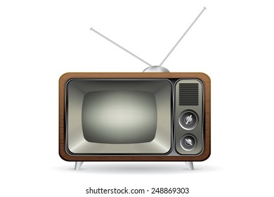 Old retro TV illustration vector isolated white