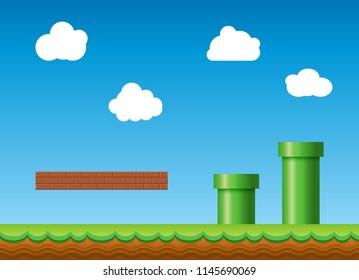 Old retro video game background. Classic retro style game design scenery.