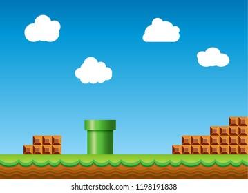 Old retro video game super mario bros background. Classic retro style game design scenery.