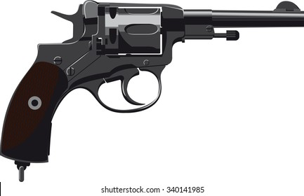 Old Revolver Nagant side view isolated on white background