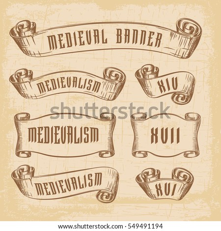 Old Ribbon Banner Decoration Scrapbook Design Stock Vektorgrafik