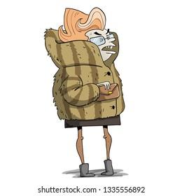 old rich lady in fur coat