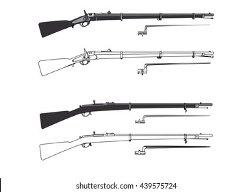 Old rifle with bayonet vector outline