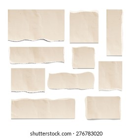 Old ripped pieces of paper set isolated on white background, vector illustration. Square, rectangular design elements, vector illustration