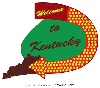 Old road sign Welcome to Kentucky, constructed and styled fifties
