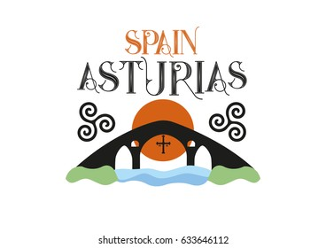 Old roman bridge in Gangas de Onis, Asturias, at the north of Spain. Vector Ilustration.