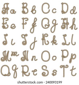 Old rope hand drawn alphabet letters from A to T