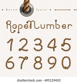 Old rope hand drawn Numbers from 0 to 9, Number set Vector illustration in flat, cartoon style isolated from the background, EPS 10