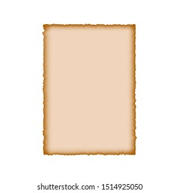 Old rough parchment and vintage paper on white background. Vector isolated illustration. Paper template with burnt, torn edges. Grunge style for design.