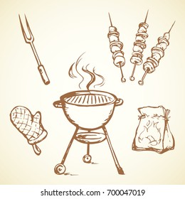 Old round grate burn Bbk device for steak snack nutrition isolated on white background. Freehand outline black ink hand drawn picture icon sketch in art retro doodle cartoon graphic style pen on paper