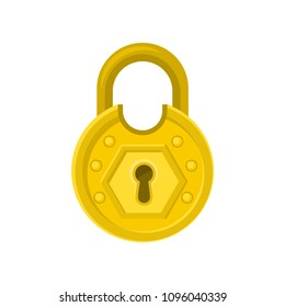 Old round-shaped padlock with ornamental engraving. Mystery, secret or security theme. Flat vector design