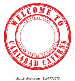 "old rubber stamp ""welcome to Carlsbad Caverns"", vector illustration"