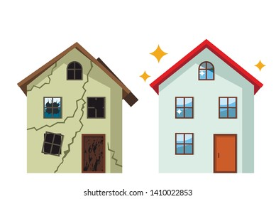 An old, ruined house in cracks with broken glasses and a renovated beautiful country cottage. concept before and after repair. flat vector illustration isolated on white background