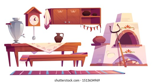 Old russian interior for kitchen. Traditional stove, wooden table, bench, cuckoo-clock, samovar, grip, shelf with pots, jug for milk, rag set isolated on white background. Cartoon vector illustration