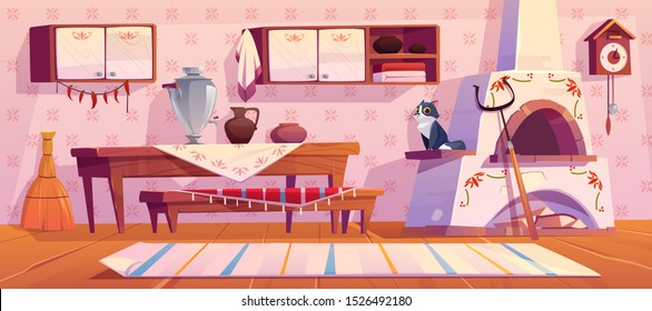 Old russian kitchen interior with traditional stove, wooden table, bench, cuckoo-clock, samovar, grip, shelf with pots, jug for milk, rag on floor and cat. Rural room decor Cartoon vector illustration