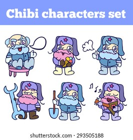 Old Russian man. Professional adorable chibi character set. Isolated icons for your design.