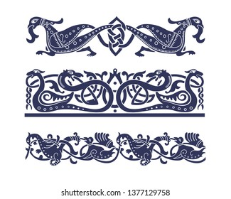 Old Russian, Slavic, Celtic style ornament. Seamless ornate knot borders with fantasy animals.