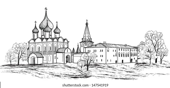 Old russian town landscape hand drawn vector illustration. Suzdal Kremlin. View of Suzdal cityscape. The Golden Ring of Russia.