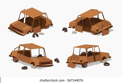 Old rusty car. 3D lowpoly isometric vector illustration. The set of objects isolated against the white background and shown from different sides