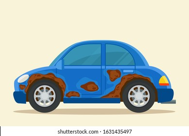 Old rusty car. Damaged car with corroded body, wheel arches and side door in a blue sedan car. Vector illustration, flat design element, cartoon style. Isolated background.
