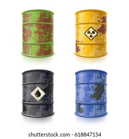 Old rusty metal barrels for different liquids
