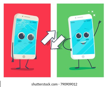 Old sad broken phone with cracks and scratches and new happy renovated smiling clear phone.Vector flat cartoon illustration character icon. Repair or exchange smartphones concept