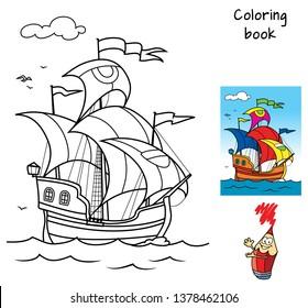 Old sailing ship. Coloring book. Cartoon vector illustration
