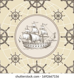 Old sailing ship with a helm. Vintage image. Hand drawing