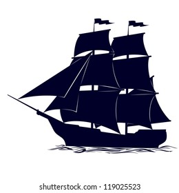 Old sailing ship. Illustration on white background.