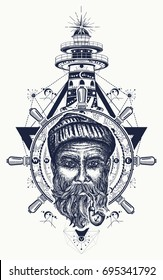 Old sailor, anchor, steering wheel, compass, lighthouse, tattoo art. Symbol of maritime adventure, tourism, travel