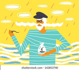 Old sailor with a big mustache and a ship in a bottle. Vector illustration
