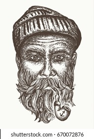 Old sailor, captain portrait hand drawn. Old man smoking pipe t-shirt design print