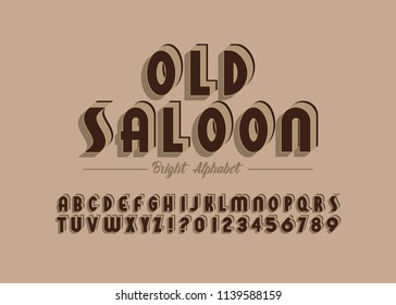 'Old Saloon' Vintage 3D Sans Serif Condensed Alphabet with Rich Colors. Retro Typography. Vector Illustration.