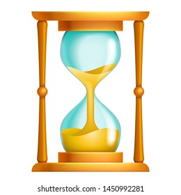 Old sand hourglass flow time leak running timer concept 3d design isolated vector icon illustration