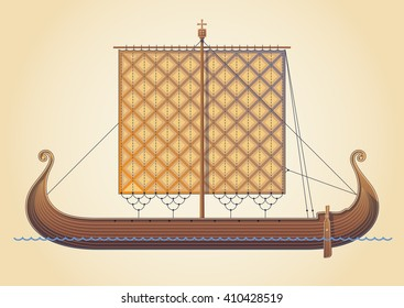 Old scandinavian ship. Viking ship - vector illustration