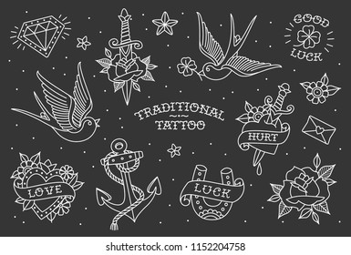 Old schoo tattoo elements collection in line style design. Traditional tattoo symbols and objects set of swallow, anchor, heart, rose. All objects in group isolated from black background