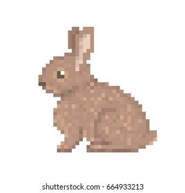 Old school 8 bit pixel art brown rabbit sitting on the ground. Cute pet bunny icon isolated on white background. Side view hare symbol. Retro video/pc game wild animal character. Slot machine graphics