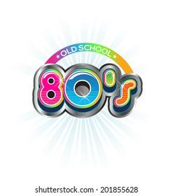 Old School 80s Vintage logo. Vector Color design