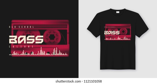 Old school bass t-shirt and apparel trendy design with styled musiccassette, typography, print, vector illustration. Global swatches.