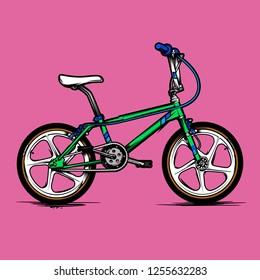 old school bmx bicycle vector illustration isolated on background