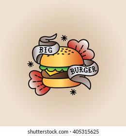Old school Burger logo/sticker/emblem