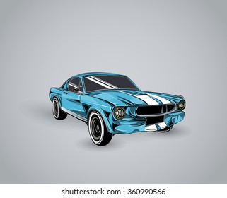 old school car. Muscle car. Print for poster or t-shirt.