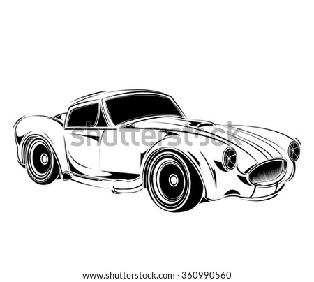 Old School Car Muscle Car Print Stock Vector Royalty Free