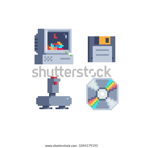 Old School Computer Icons Set Pixel Stock Vector (Royalty