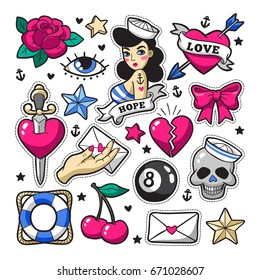 Old school fashion patch badges with heart, cherry, dagger and other elements. Vector illustration isolated on white background. Set of stickers, pins, patches in trendy rockabilly tattoo style.